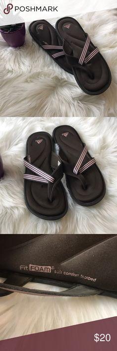 6ca66dfe73af7 ADIDAS FLIP FLOPS-Brown lt pink-Size 10 These Adidas flip flops are