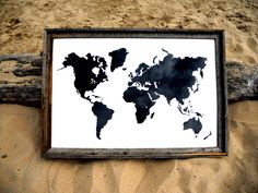 Giant Modern World Map Print Poster - 24x36 - White and Black. $48.00, via Etsy.  Ooohh!  LOVE this one.