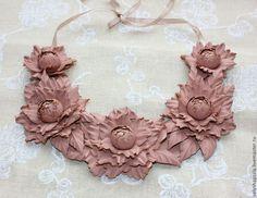 колье из натуральной кожи Розовая пудра - кремовый,колье,колье из кожи