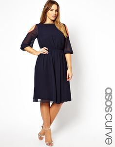 Image 1 ofASOS CURVE Midi Dress With Cold Shoulder And Piping