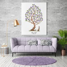 Instant Download Fingerprint Tree Elisa with bunny decoration   Etsy Wedding Fingerprint Tree, Baby Shower Fingerprint, Fingerprint Art, Presentation Pictures, Gift Drawing, Font Styles, Best Memories, Ink Color, Creative Gifts