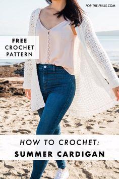 T-shirt Au Crochet, Cardigan Au Crochet, Crochet Video, Mode Crochet, Crochet Shirt, Crochet Woman, Easy Crochet, Tutorial Crochet, Crochet Summer