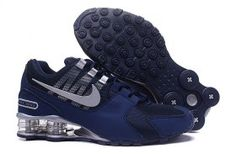 new products 16ea7 5f644 Mens Nike Shox NZ Dark Blue Silver Athletic Running Shoes Trainers Nike Shox  Shoes, Mens