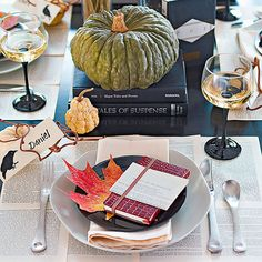 Your guests can read all about it at this reading-themed tablescape: http://www.bhg.com/thanksgiving/decorating/fall-table-settings/?socsrc=bhgpin100914spookytone&page=3