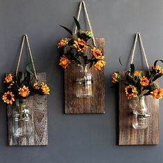 Source Decorative Mason Jar Wooden Wall Decor – Rustic Wall Sconces with Flowers… Rustic Wall Sconces, Rustic Walls, Rustic Decor, Farmhouse Decor, Wooden Wall Plaques, Wooden Wall Decor, House Plants Decor, Plant Decor, Home Decor Sets