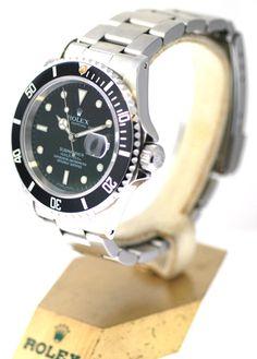 16610 Rolex Mens Submariner, 40mm Watch With Black Dial & Black Bezel, Authentic #Rolex #LuxurySportStyles