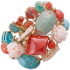 Fine and Eclectic Collection of Coral Turquoise Wide Bracelet ❤ liked on Polyvore