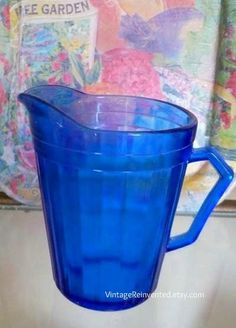 Vintage  Blue Glass Depression Pitcher by VintageReinvented