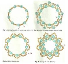 ring of beads scheme--- make rings and then use the rings in necklace and earrings.  Basic pattern, can use various sizes, and modified