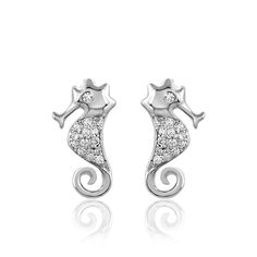 1/10 Carat Real Diamond Dragon Stud Earrings 925 Sterling Silver Gift for Ladies #CaratsForYou #Stud