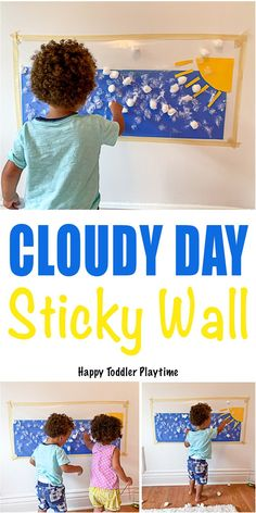 Cloudy Day Sticky Wall Create a fun cloudy day sticky wall for your toddler or p. - Cloudy Day Sticky Wall Create a fun cloudy day sticky wall for your toddler or preschooler! Indoor Activities For Toddlers, Activities For 2 Year Olds, Toddler Learning Activities, Rainy Day Activities, Sensory Activities, Infant Activities, Motor Activities, Summer Activities, Family Activities
