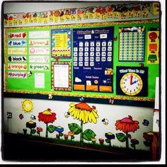 - love the flowers Kindergarten Focus Walls, Math Focus Walls, Preschool Classroom Setup, Kindergarten Calendar, Classroom Calendar, Classroom Displays, Kindergarten Classroom, Classroom Themes, Preschool Activities