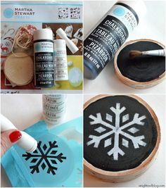 Check out how to make this fun and easy handmade Chalkboard Snowflake Christmas ornament made with #MarthaStewartCrafts! #12MonthsofMartha