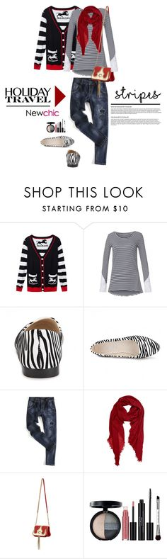 """""""Newchic.com: Holiday Travel, stripes"""" by hamaly ❤ liked on Polyvore featuring Peach Couture, Laura Geller, stripes, shoes, ootd, cardigan and newchic"""