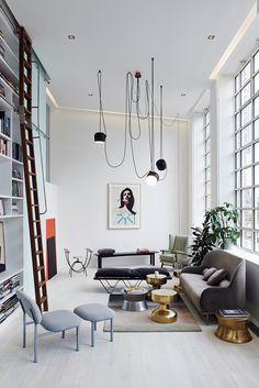 Home Interior Design — The living area of a loft apartment in London. Home And Living, Interior Design, House Interior, Modern Loft, Home, Cheap Home Decor, Interior, Loft Spaces, Home Decor