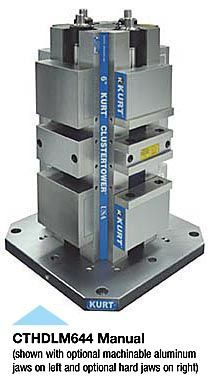 CTHDL Manual Cluster Towers - This manually operated, eight station HDL Cluster Tower system features a ductile iron integral vise tower. Designed for use on mid-size and larger machining centers including horizontal and vertical machining centers with a fourth axis, and indexable tables. This workholding system achieves workpiece immobility while damping cutter induced vibration. - http://www.kurtworkholding.com/high-density-cluster-towers-cthdl-manual-cluster-towers-c-570_148_215-l-en.html