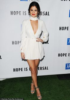 Leggy look: Selena Gomez was a vision in white at the Spirit of Life Gala in LA on Thursday night