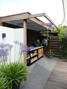Courtyard Gardens, Outdoor Gardens, Bicycle Storage Shed, Backyard, Patio, Garden Seating, Exterior Design, Outdoor Living, Pergola