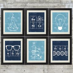 Nerdy Science Art - set of Prints with Erlenmeyer Flask, DNA, Elements for science themed bedroom or nursery Science Bedroom, Science Room Decor, Science Boys Room, Erlenmeyer Flask, Plakat Design, Science Art, Stem Science, Science Posters, Science Quotes
