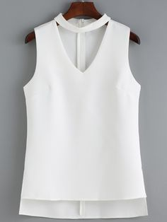Shop V Neck High Low White Tank Top at ROMWE, discover more fashion styles online. Short Shirts, African Fashion Dresses, Blouse Styles, White Tank, Cute Fashion, Casual Tops, Casual Outfits, High Low, Tank Tops