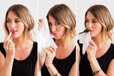 Use translucent powder to make any glossy lipstick matte.