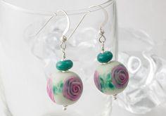 Rose Lampwork Earrings by Ciel Creations