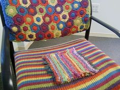 I like the chair back cover... it's another great idea for the beekeeper quilt pattern's hexagons!