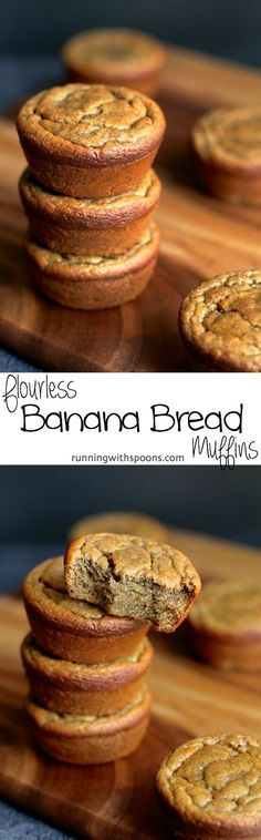 Flourless Banana Bread Muffins -- gluten-free, sugar-free, dairy-free, and oil-free || runningwithspoons.com #gf #glutenfree #banana
