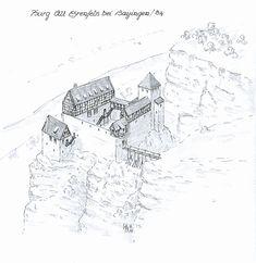 Castle Alt Ehrenfels near Hayingen/Baden-Wuerttemberg www. Fantasy Town, Fantasy Castle, Fantasy Map, Medieval Life, Medieval Castle, Medieval Fantasy, Historical Maps, Historical Architecture, Castle Layout