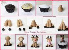 Cupcake recipes 339247784403488060 - Fondant Reindeer Tutorial – Could be made a little larger with polymer clay and used as an ornament with small eye hook on top of head Source by alicevertefeuil Christmas Cake Decorations, Christmas Cupcakes, Fondant Christmas Cake, Valentine Cupcakes, Pink Cupcakes, Easy Fondant Decorations, Christmas Cupcake Toppers, Christmas Cake Designs, Fondant Toppers