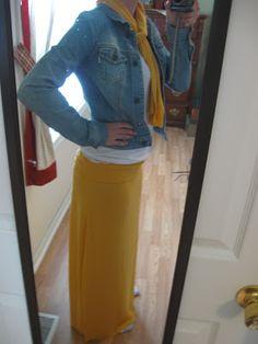 Easy DIY maxi skirt with fold over waistband and scarf