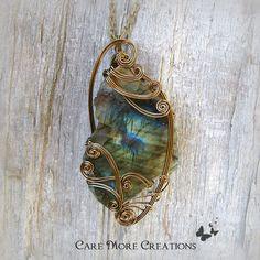 Iridescent Labradorite Wire Wrapped Pendant Necklace by CareMoreCreations.com, $89.00