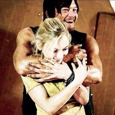 The Walking Dead- Emily(Beth) gets hugs from Norman(Daryl)