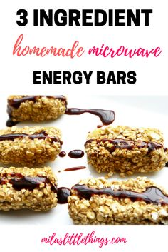 3 ingredient homemade microwave energy bars. Healthy, gluten free snack idea. IBS friendly. Banana and oats.Low FODmap
