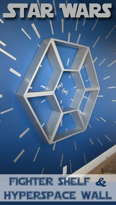Star Wars Shelf and Hyperspace Wall - Her Tool Belt An awesome Star Wars bedroom with a hyperspace focal wall and fighter cockpit Star Wars Shelf. Star Wars Decor, Decoration Star Wars, Star Wars Crafts, Star Wars Baby, Star Wars Kids, Kids Bedroom Boys, Kids Room, Kid Bedrooms, Childs Bedroom