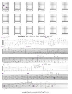 Blue Oyster Cult Cities On Flame guitar tab by Jeffrey Thomas. Learn to play this killer guitar song with my custom tab. Free Skype guitar lesson included