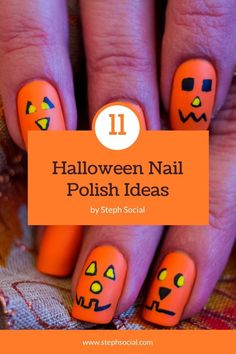 Get in the spooky spirit with these cute Halloween nail ideas! Cute Halloween nail designs! Easy Halloween nails diy! Easy Halloween nail designs. Diy Halloween nails easy. Diy Nail Designs, Short Nail Designs, Simple Nail Designs, Cute Halloween Nails, Halloween Nail Designs, Easy Halloween, Nail Care Routine, Nail Care Tips, Nail Art Diy