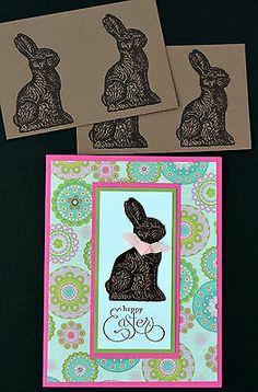 Handmade Happy Easter Card 4 Girl Made w Stampin Up 4 Bonus Chocolate Bunnys | eBay