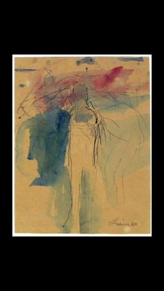 """Nathan Oliveira - """" Untilted (Figure study) """", 1960 - Watercolor and ink on paper - 30,5 x 22,9 cm"""