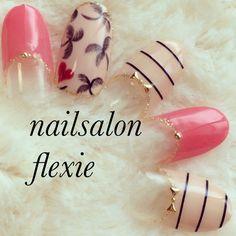 So adorable love the colors Sassy Nails, Trendy Nails, Fabulous Nails, Gorgeous Nails, Hot Nails, Pink Nails, Garra, Aloha Nails, Super Cute Nails