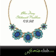 "Blue Daisy Statement Necklace From Regal. A new colour scheme for everyone's favourite flower! Turquoise and royal blue smooth glass stones make up cool and sleek daisies, which hang from a flat curb chain with lobster clasp closure. (14"" chain plus 3"" extender.) Product Number - JC1090"