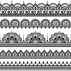 Herunterladen - Mehndi, indische Henna tattoo nahtlose Muster, Design-Elemente — Stockillustration #72759731