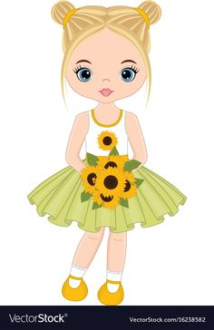Cute little girl with sunflowers Royalty Free Vector Image Clipart Baby, Cute Clipart, Little Girl Pictures, Cute Little Girls, Lol Dolls, Cute Dolls, Little Girl Illustrations, Stitch Games, Cute Girl Drawing