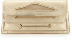 """Halston Cutout Handle Fold-Over Clutch, Gold on shopstyle.com 