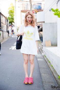 Harajuku Girl in Adidas T-Shirt