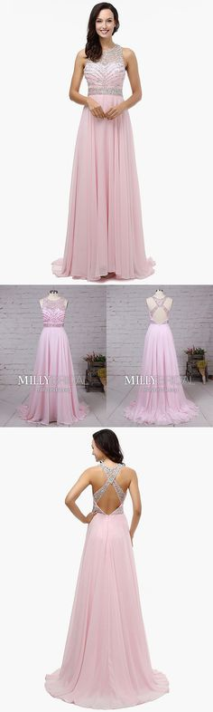 Long Prom Dresses Pink,A-line Formal Evening Dresses Modest,Unique Chiffon Military Ball Dresses Open Backs,Tulle Pageant Party Dresses Sleeveless Pink Prom Dresses, Modest Dresses, Party Dresses, Pink Dress, Plus Size Formal Dresses, Formal Dresses For Teens, Formal Evening Dresses, Military Ball Dresses, Open Backs