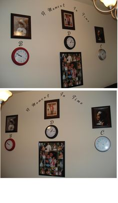 Cost under $42 (excludes my wedding collage). Clocks($3.88) and picture frames($3.00) at WalMart. Lettering was 50% off at Hobby Lobby and I bought them with a gift card from Christmas. So it actually cost me under $22.00! You set the clocks to the time of their birth and set the second hand to the month they were born. I just picked random photos I liked for them, but you could always change them out.