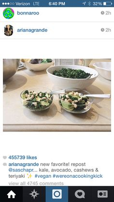 Ariana Grandes insta photo. #vegan #recipe  She didn't mention this but fresh squeezed lemon, Olive oil and a little Himalayan salt might be a nice swap to the teriyaki sauce. #justsayin