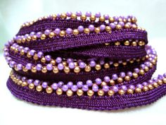 Dark Purple Edging/Border with GoldLilac Pearls by mariasingh2, $3.75..... nursery colors inspiration