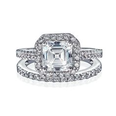 Bling Jewelry Great Gatsby Inspired Antique Style CZ Engagement Ring Wedding Set